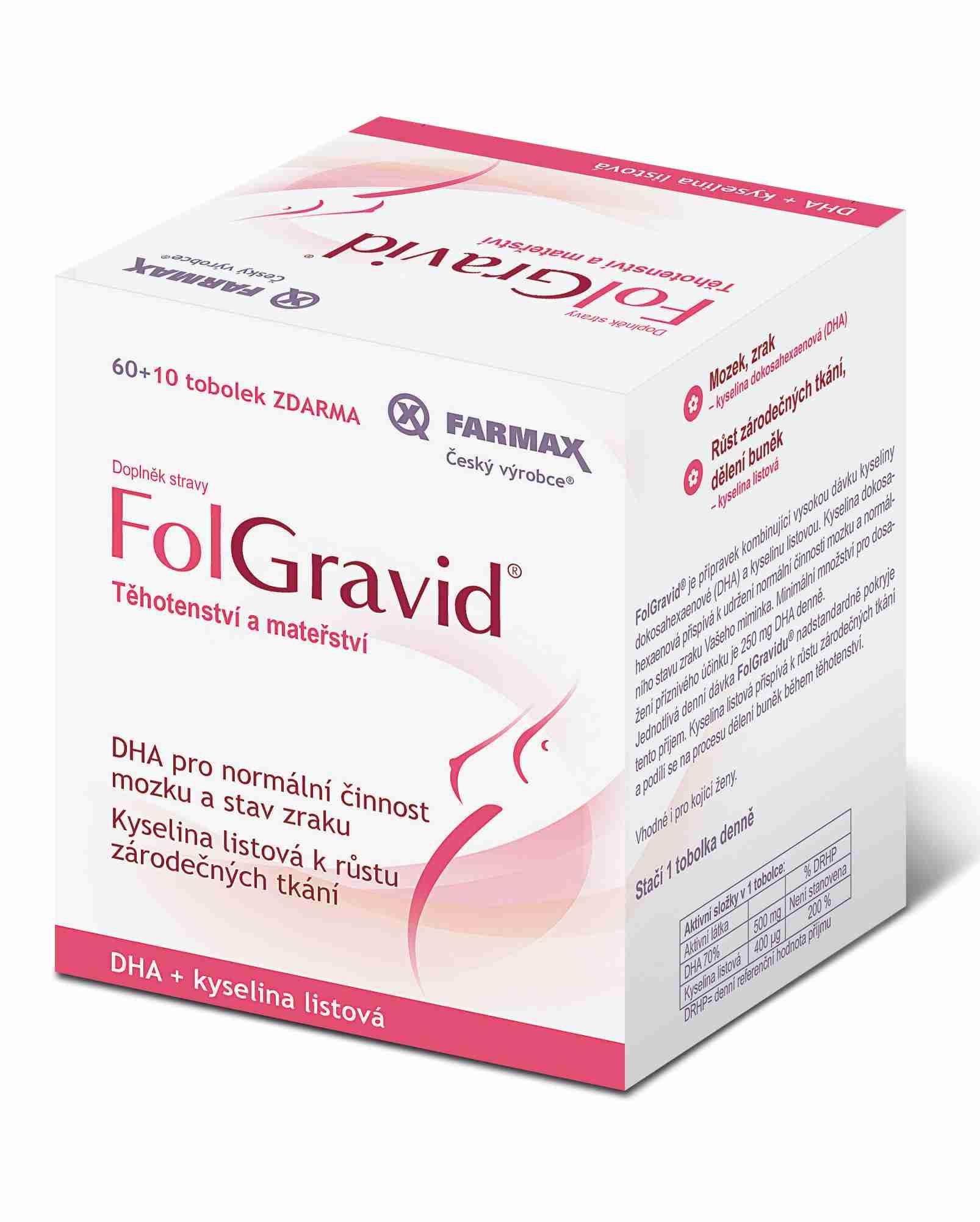 Farmax Folgravid 60 tob. + 10. tob. ZDARMA
